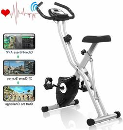 ANCHEER Folding Exercise Bike with Big Heart LCD Rate Monito