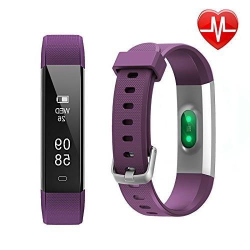 Lintelek Fitness Activity with Rate Monitor, Wristband Step Calorie Counter, Bluetooth for & iOS Smartphone for Women