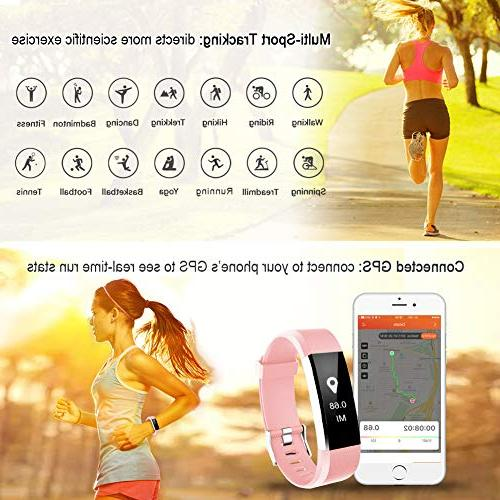 LETSCOM Activity Heart Rate Smart Band Step Pedometer for Women